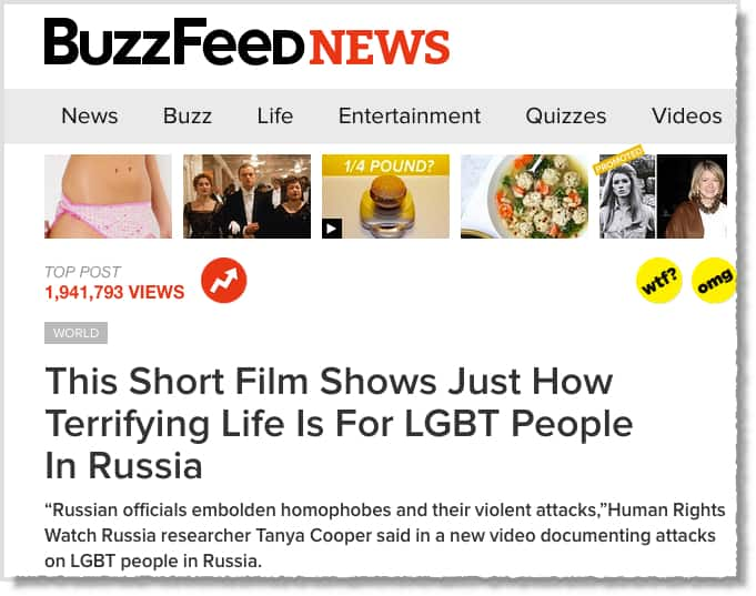 Buzzfeed example of a headline going viral