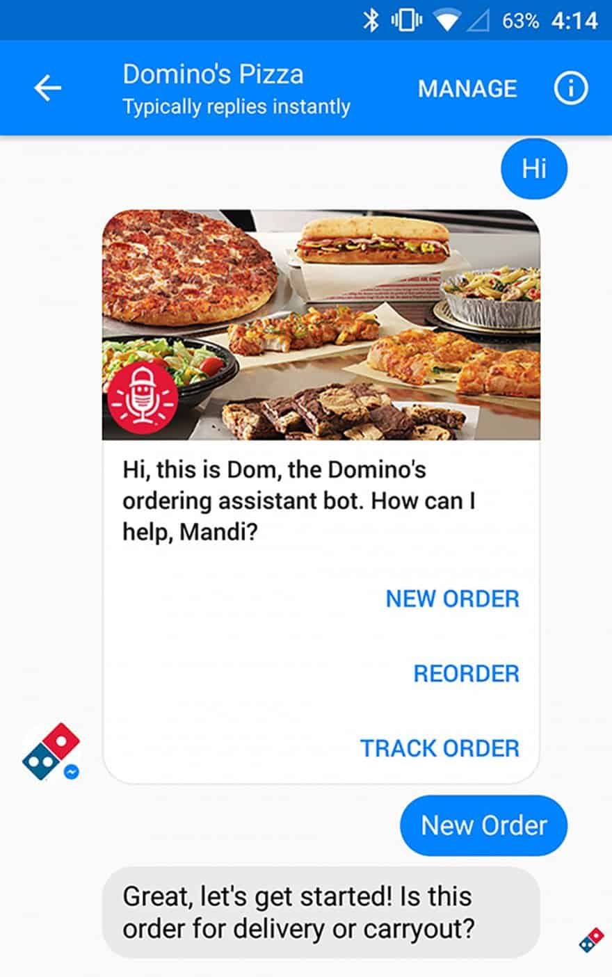 order pizza using Facebook Messenger chatbot