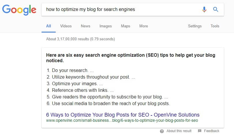 another example of Google snippets