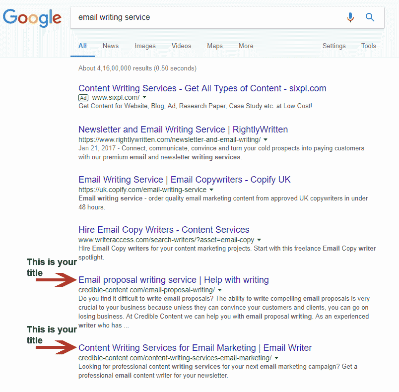 Web page title as hyperlink in search results