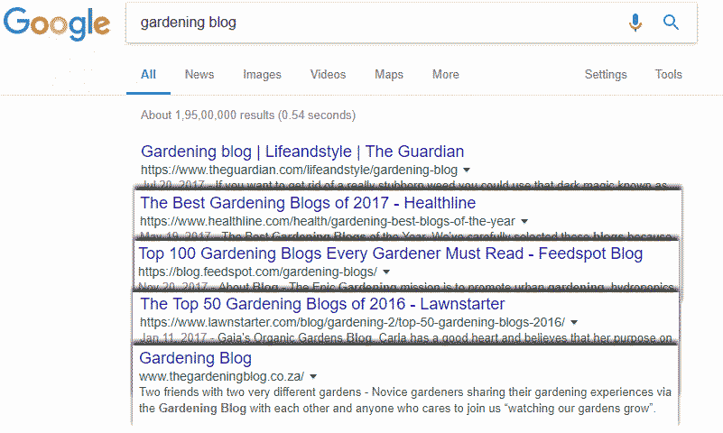 Gardening blogs example on Google