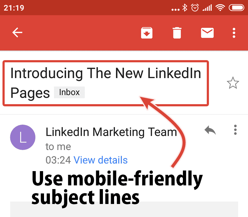 Use mobile friendly subject lines to increase email open rate