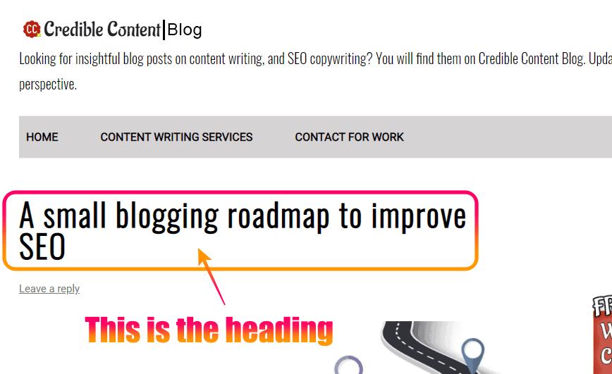Screenshot of a heading