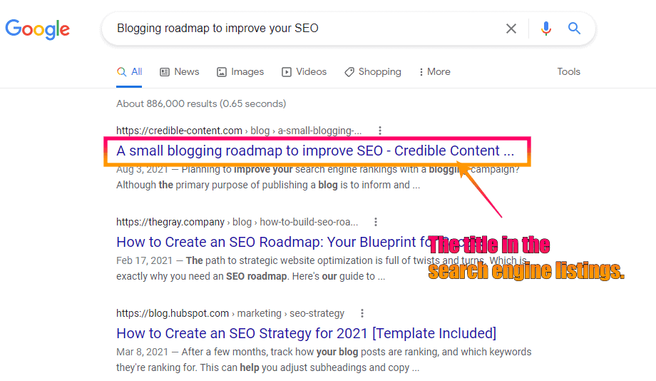 Screenshot of the search engine listings of the title tag
