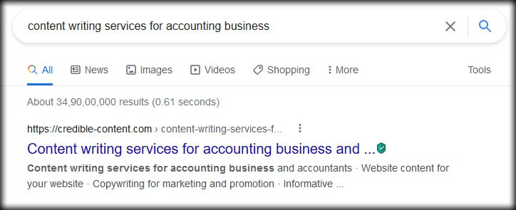 Top Google rankings for my content writing services