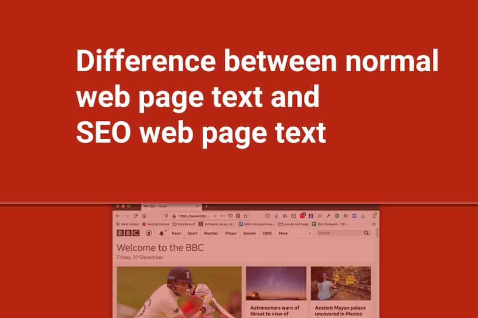 Difference between normal web page text and SEO web page text