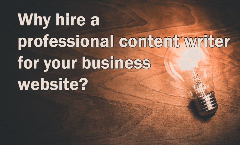 The image has an idea bulb and there is a question that asks why hire a professional content writer for your business