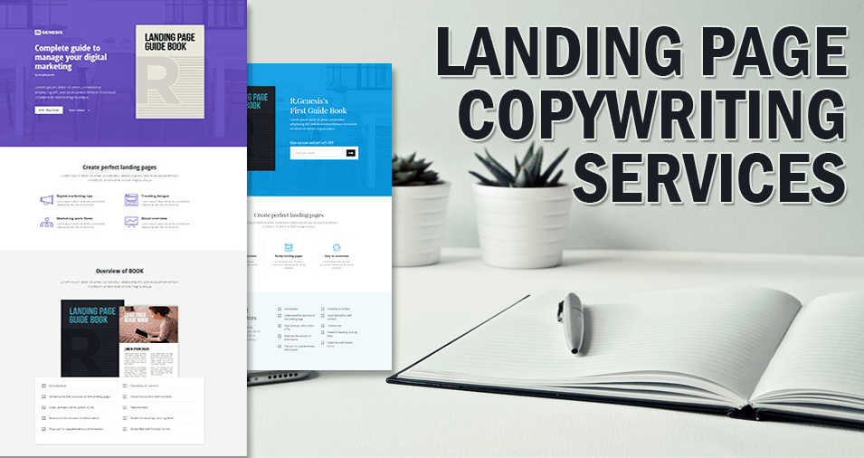 The image shows overlapping landing pages with the landing page copywriting services caption