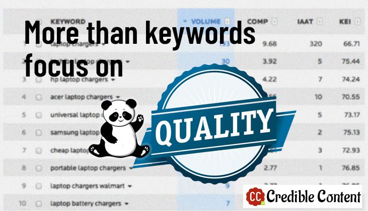More than keywords focus on quality