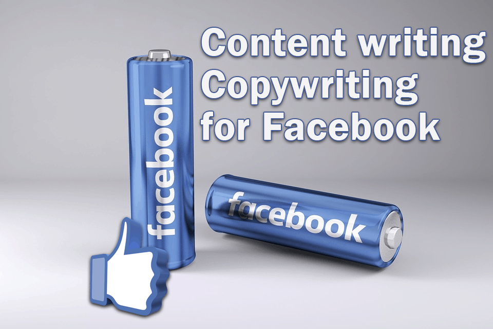 The image shows a caption for content writing and copywriting for Facebook