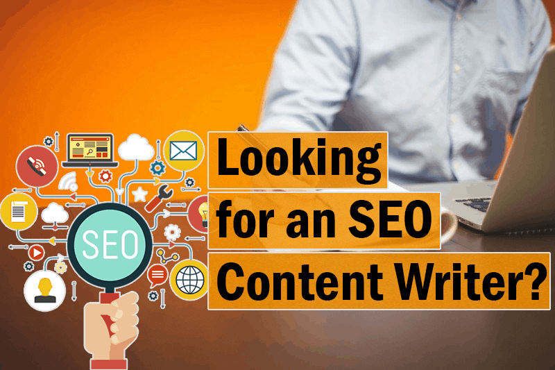 The image is a collage about various SEO content writing visuals
