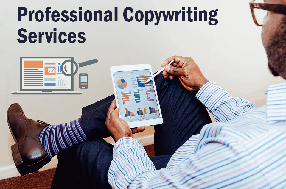 The image shows a professional copywriter