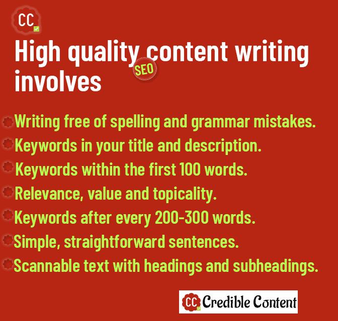 High-quality SEO content writing involves