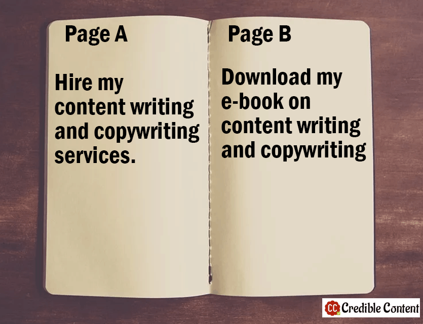 Copywriting examples of two landing pages